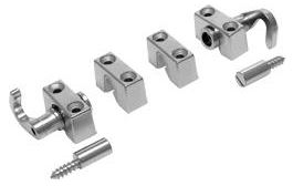 "Rectangular Espagnolette Lock Fittings Set Rectangular Espagnolette Lock Fittings Set Measurements Hook Dimensions:  26mm x 26mm x 18mm Bar Saddle Dimensions:  26mm x 14mm x 10.5mm Striker Dimensions:  14.5mm x 7.5mm diameter Finish:  Nickel Plated   Rectangular Espagnolette Lock Fittings Set Description Espagnolette lock fittings set suitable for the SLO0202 Rectangular Espagnolette Lock. Set consists of 2 x Bar Saddles, 2 x Hooks and Hook Saddles, and 2 x Strikers. Espagnolette locks is a generic name to describe a system that uses round bars to lock a cabinet at the top and bottom of a cabinet.  The lock when turned either with a key or turn handle will rotate the bars which in turn rotate the hooks around pins which are situated at the top & bottom of the cabinet. The ""D"" bar which is a standard size bar and used throughout the industry comes in two lengths 100cm or 200cm to ensure you have the correct length."