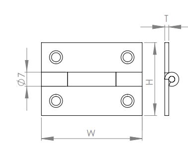 50 x 37mm Butt Hinge ZP (Dimensions)