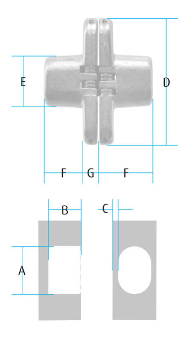 Brass Plated 65 x 13mm Cylinder Hinges Brass Plated 65 x 13mm Cylinder Hinges Measurements  A=20mm B=20mm C=3mm D=65mm E=19mm F=18mm G=2mm 65mm x 13mm overall Screw Size – 3mm Csk