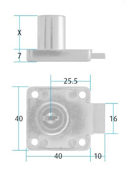 Square Drawer Lock / Differ / 19 x 38mm Cylinder (Dimensions)
