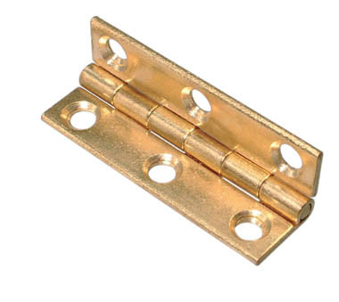 63 x 35mm Brass Plated Butt Hinge 63 x 35mm Brass Plated Butt Hinge Details Brass plated butt hinges with countersunk holes.  A = 63mm B = 35mm 1.5mm material thickness Brass plated Screw Size – 3mm Csk (Not Supplied) Sold as a pair