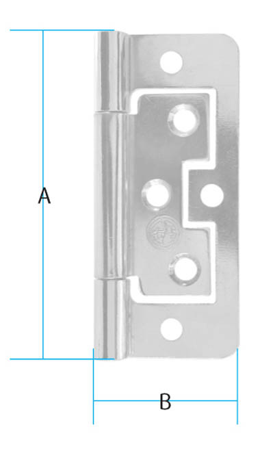 Zinc Plated 76mm Flush Hinges Zinc Plated 76mm Flush Hinge Details Colour : Zinc Plated A : 76mm B : 33mm Screw Size : 3mm Csk (Not supplied) Material : Steel Zinc Plated 76mm Flush Hinge Description Surfaced mounted flush hinges with a fixed pin are primarily used on lightweight doors where the lay-on door or inset door option is required. With no cutting in required either on the door or the frame this hinge is quick to install and due to the unique design of the hinge both leafs will fit within each other when shut. The smaller version hinges are also an ideal hinge to use when making small boxes. Supplied in various sizes from 38mm to 76mm and manufactured in steel and available in 5 different colours we have an option to cover most situations.