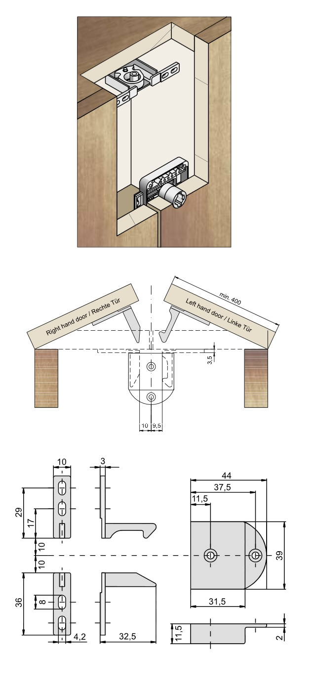 Auto Bolt For Double Doors (Dimensions)
