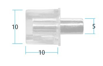 Clear Shelf Stud with Metal Pin (Pack of 10) (Dimensions)