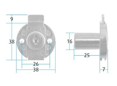 Drawer Lock Round / Keyed Alike (Dimensions)