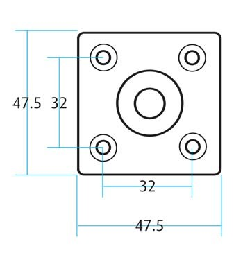 Leg Fitting Square Plate M8 (Dimensions)