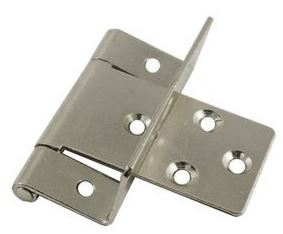 19mm Nickel Plated Cranked Hinge 19mm Nickel Plated Cranked Hinge Details  Colour : Nickel Plated A : 19mm B:  15mm Screw Size : 3mm Csk (Not supplied) Material : Steel