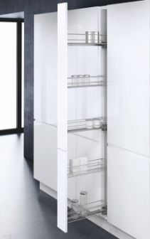 Silver Tal Wiro 150mm Pull Out Larder Unit Silver Tal Wiro 150mm Pull Out Larder Unit Dimensions Cabinet Width: 150mm Minimum Internal Cabinet Height: 1850mm Unit Height: 1690mm Unit Depth: 495mm Installation Height: 1734mm (including runners) Max Basket Weight: 25 kg Right hand mounting frame Colour: Silver Silver Tal Wiro 150mm Pull Out Larder Unit Complete Set Includes: 1 x frame set, 1 x full extension soft close drawer runners, 3 x front panel connectors, 5 x chrome plated baskets, fixings & instructions This Tal Wiro 150mm larder unit complete with 5 baskets fixed in place is an ideal solutions to maximise use of small spaces in the kitchen rather than letting them be wasted. Delivery of this item is 2-3 days