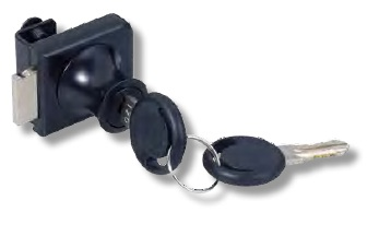 Hinged Glass Door Lock for Single Doors Keyed to Differ Black Hinged Glass Door Lock for Single Doors Keyed to Differ Black Measurements Dimensions:  35.8mm x 32mm Glass thickness:  6mm Keyed to differ with 200 key combinations Non mastered No boring required Finish:  Black Manufactured by Siso   Hinged Glass Door Lock for Single Doors Keyed to Differ Black Description The Hinged Glass Door Lock is suitable for use in cabinets and cupboards where a lock is required for the hinged glass.  The lock is fitted to either the top or bottom of the doors.  The key can be withdrawn in either position.  When the key is turned the bolt moves out securing the door.  The bolt can be located into or behind a Striker (supplied).  It can also be located into a hole in the cabinet.  No boring is required with the lock as it is secured to the glass door with two screws with rubber buffers.