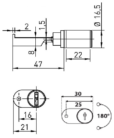 Ojmar 1 Wing Ped Lock Anti Tilt Pin (Dimensions)