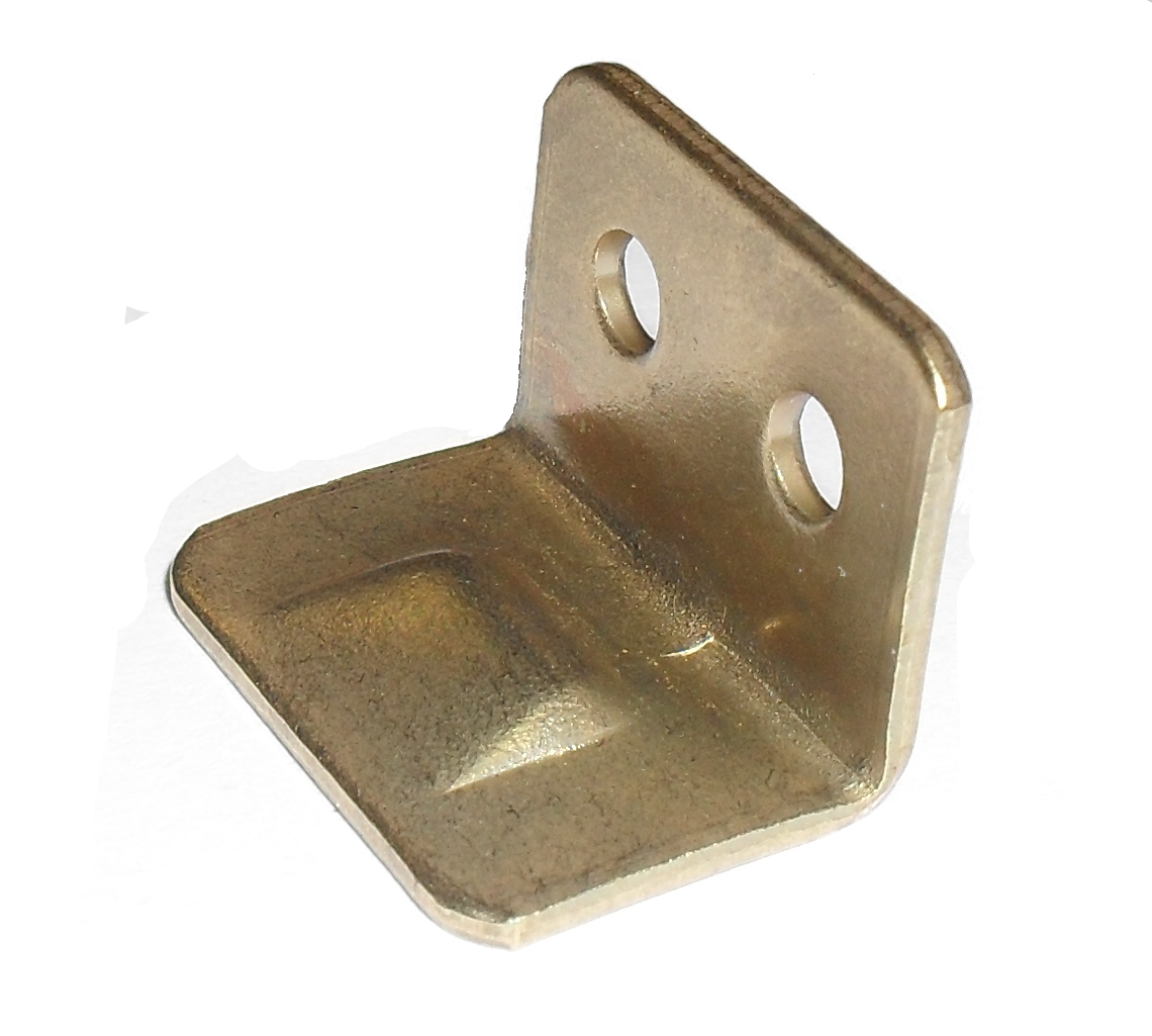 Brass Plated Angle Striker Plates Brass Plated Angle Striker Plate Details Angle striker plate for use with slide bolts. Screw size : 2.5mm Pan (Not supplied) Material :Steel- Electro brass plated Brass Plated Angle Striker Plates Description Angled striker plates or keeps as they are also known as are used in a variety of applications within the bespoke joinery area. If used with locks they can be fitted so that the cam or latch of the lock can sit behind the striker plate or if used in conjunction with slide bolts they provide a keep for the slide to fall in behind. The smaller version can also be used as small cupboard door stops on an inset door to prevent the door being pushed too far in and damaging the hinges. Manufactured in steel with a nickel plated or electro brass finish and available in 3 sizes to suit most applications.