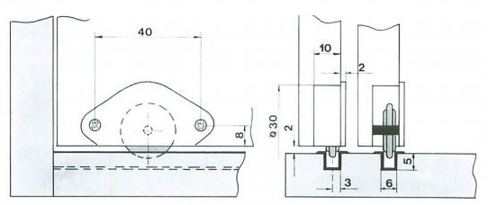 Screw On Roller For Wood Sliding Door System Brown (Dimensions)