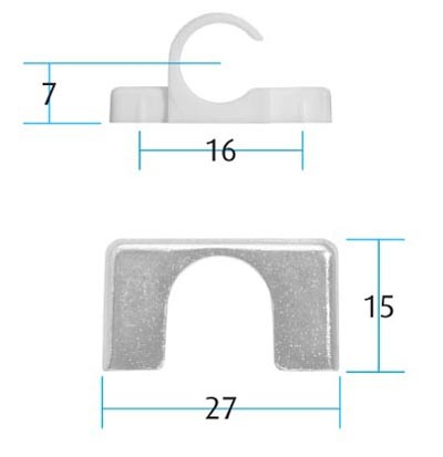 Screw on Metal Hook Saddle for SLO 1262 Hooks Bronzed (Dimensions)