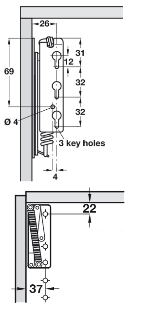 Top Box Flap Stay (Dimensions)