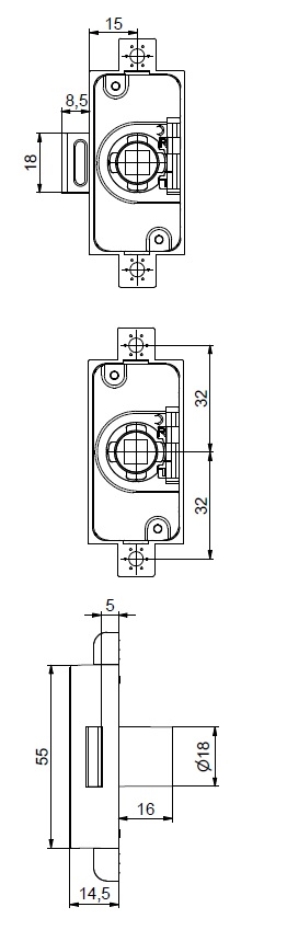 25mm Backset 7x7mm Espagnolette Housing NP (Dimensions)