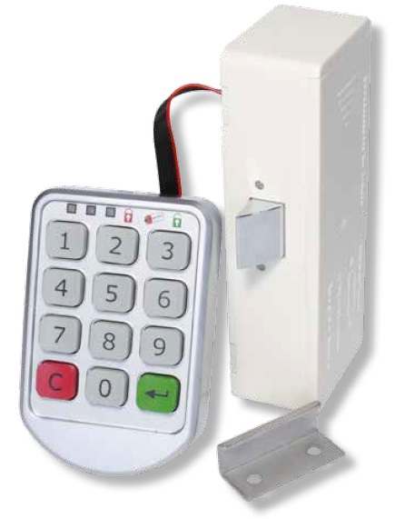 Electronic Combination Slam Lock Electronic Combination Slam Lock Measurements Keypad Dimensions:  84.8mm x 56mm x 14mm Lock body dimensions:  118mm x 45mm x 29mm   Electronic Combination Slam Lock Description Master code and user code.  1-10 digit codes as per customers own choice.  Can be set as Private (with permanent code) or Public (temporary user code).  Easy to install and operate.  Suitable for lockers, cabinets, drawers and other furniture.  Alarm for low power.  Uses 4 x AAA batteries (not included).