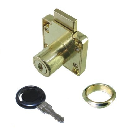 Drawer Lock Keyed to Differ 22mm Nozzle Drawer Lock Keyed to Differ 22mm Nozzle Measurements Dimensions:  40mm x 40mm Nozzle:  19mm Diameter x X = 22mm Backset:  25.5mm Key Range:  Differs Non Mastered Material: Steel Lock Body Finish:  Brass Plated Manufactured by Siso   Complete with 2 fob keys & rosette   Drawer Lock Keyed to Differ 22mm Nozzle Description With a square shape backplate and off centred barrel this drawer lock is suitable for all drawer fronts up to 22mm.  It has a backset of 25.5mm and with a tongue extending by 10mm is ideally used with an angled striker plate to secure behind. Available as keyed alike to D20 or differs which can be mastered or unmastered.  Additional keys are available.