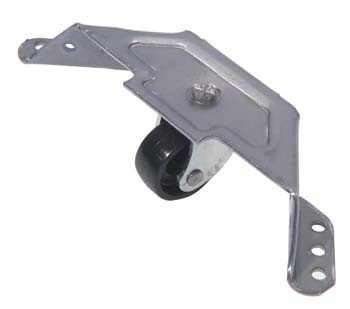 Corner Bracket Castor Corner Bracket Castor Measurements Wheel Diameter : 28mm Wheel Colour : Black Wheel Material : Polypropylene Bracket Length :110mm x 37mm Bracket Height : 17mm Bracket Colour : Self Colour Bracket Material : Steel Load per Castor : 35 Kg Manufactured in the UK Corner Bracket Castor Description A heavy duty corner bracket allowing castors to be fitted to wardrobes. Nylon wheels are non marking ensuring a smooth movement that is stable and easy to manoeuvre.