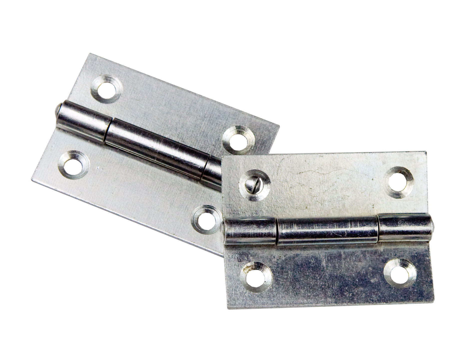 50 x 37mm Zinc Plated Butt Hinge 50 x 37mm Zinc Plated Butt Hinge Measurements Width : 50mm Height : 37mm Thickness : 1.5mm Screw Holes : 4 x 4.5mm Sold as singles Material: Steel Finish: Zinc Plated Manufactured by Siso 50 x 37mm Zinc Plated Butt Hinge Description These butt hinges are traditionally used on furniture doors or small lightweight doors. They are recessed into the frame and also the edge of the door so that when the door is closed they can butt up together ensuring the door is shut flush. The knuckle of the hinge is normally on show and is often matched with handles or knobs of a similiar finish.