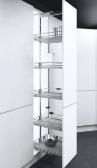 Premea Pull out Larder Unit (400mm x 1450-1700mm) Pull out Larder Unit (400mm x 1450-1700mm) Measurements Cabinet Width: 400mm Min Cabinet Depth: 470mm Cabinet Height: 1450-1700mm For 16-19mm carcasses Baskets Supplied: 4 Basket Base Colour: Silver Mesh with a grey base Basket Width: 330mm Maximum Weight per Basket: 16 kg Pull out Larder Unit (400mm x 1450-1700mm) complete set Components supplied are a frame, centre mounted drawer runners (full extension) & baskets also included are full fitting instructions Larder units are designed to fit all standard cabinets from widths 300-400mm and heights from 1200-2140mm so we will have a pull lout unit to fit. Comes as a complete set with fully adjustable baskets so you can place them to suit your needs. The baskets are finished in silver with a grey base. Delivery of this item is 2-3 days.