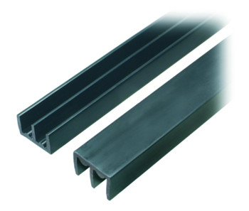 Sliding Door Channels for Glass Doors 10.5mm Plastic channel for glass sliding doors Twin Channel Sliding Door Channels for Glass Doors 10.5mm Measurements Glass size= 10.5mm Overall height=12.7mm Overall  width=25.4mm Groove width=7.14mm Groove depth=10.5mm Length 2m Top track Sliding Door Channels for Glass Doors 10.5mm Details Black plastic track for sliding glass or doors, available in 2 meter lengths, with either single or double track to suit glass or wood thickness from 4.7mm, 6.35mm and 9.5mm. Can be used for vivarium's, reception hatches and light weight sliding doors.. The top track is always deeper than the bottom track, this enables the glass or wood to be lifted up into the track before lowering in to the bottom track, the extra depth in the upper track prevents the material from falling forward. The bottom track is ridged in the middle of the grooves to enable the material to slide easily. Manufactured in the UK from high grade plastic.