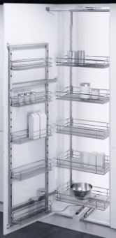 600mm Larder Units (1700-1950mm) 2 Frame 600mm Larder Units (1700-1950mm) 2 Frame Measurements Cabinet Width: 600mm Cabinet Height: 1700-1950mm Built in Depth: 480mm Larder unit load weight: 20kg per basket maximum of 80kg overall Door unit load weight: 5kg per basket maximum of 20kg overall Colour: Silver with chrome plated baskets with a mesh base   600mm Larder Units (1700-1950mm) 2 Frame Set Includes Hanging frame, height adjustable door mounted frame with steel support arms, top & bottom full extension frame runners with the bottom runner featuring a soft close system. 5 baskets for the door frame and 5 baskets for the frame all chrome plated, clips for hanging & securing the baskets, door frame grey support hinges, door panel mounting bars, fittings & instructions. The swing out pantry units are available for 500mm & 600mm cabinets and are available in 2 heights 1700-1950mm & 1900-2150mm, the frame is pulled out when the door is opened allowing easy access to the frame behind the door panel and the main frame which is pulled forward. The baskets can be affixed in numerous positions to ensure all products can be stored Delivery of this item is 2-3 days