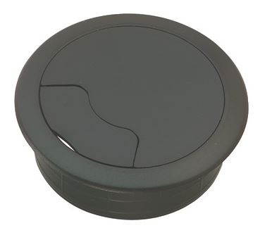 Cable Grommet Shape: Circular Hole diameter size: 60mm Overall diameter: 72mm Colour: Black Material: Plastic Manufactured by Siim Cable grommets, cable ports or desk tidies as they are also known are available in various shapes from square, rectangular and circular with hole diameters ranging from 39mm to 80mm. Manufactured in plastic or steel with various colours available. Commonly used in office desks, media and television cabinets to ensure that cables are passed through safely and out of sight.