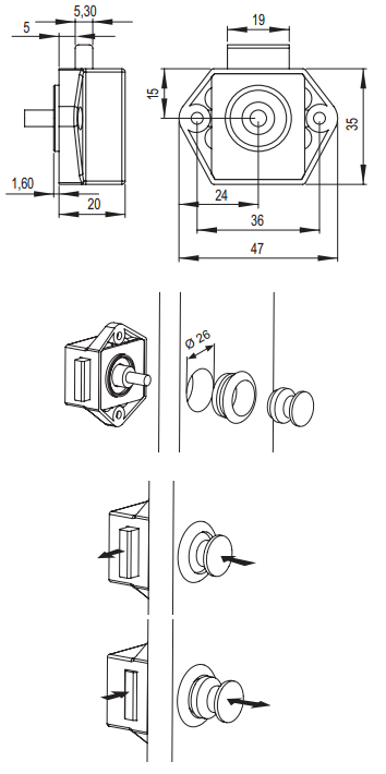 Caravan Push Lock Set (Dimensions)