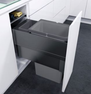 ENVI Space Pull Out Waste Bin (300mm) Pull Out Waste Bin 300mm Measurements Cabinet Width: 300mm Minimum Cabinet Depth: 480mm Minimum Installation Height: 580mm Lava grey coated steel side panels, lid & frame housing with grey plastic bins Bins Included: 1 x 32 & 1 x 1.2 litres About ENVI Space 300mm Pull Out Waste Bins ENVI Space pull out waste bins feature a set of soft closing side fixed drawer runners and drawer front connectors. Suitable for either 16mm or 18/19mm board thickness. The bins can be withdrawn from the unit while the lid remains in place. Delivery of this item is 2-3 days.