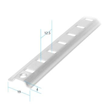 Raised Bookcase Strip Zinc Plated (Dimensions)