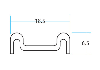 Bottom Track For Glass Sliding Door System / 5m (Dimensions)