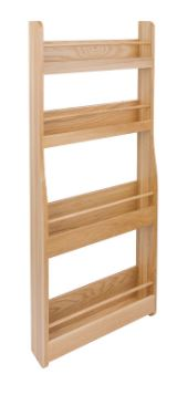 Lacquered Oak Storage Rack Oak Storage Rack Measurements Depth: 92mm Width: 400mm Height: 1000mm Material: European Oak Oak Storage Rack Description We can now offer 4 individual items that compliment each other other in the modern kitchen, spice racks, storage racks, horizontal wine racks & storage boxes all made of european oak with a clear lacquered finish to protect them. This storage rack has 4 shelves and please note that this item is not pre-drilled. Delivery on this item is 2-3 days