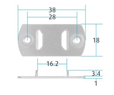 Flat Saddle for Recessed Bars (Pack of 10) B Type (Dimensions)