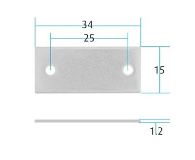Zinc Plated Flat Saddle for Recessed Bars Zinc Plated Flat Saddle for Recessed Bars Measurements Application:  Recessed Bar Dimensions:  34mm x 15mm Material:  Steel Screw size:  2.5mm Pan (Not supplied) Finish:  Zinc Plated   Pack Size: 10 pcs   Zinc Plated Flat Saddle for Recessed Bars Description Used in conjunction with locking pins, trigger plates, guide blocks and anti-tilt bars it will provide an anti-tilt setup for all drawer pedestals and if used with a pedestal lock will secure the unit as well.  The bar saddle is used to hold the anti-tilt bar in position within the pedestal unit.  Designed for use with recessed anti-tilt bars.  Manufactured by Martin Lehmann