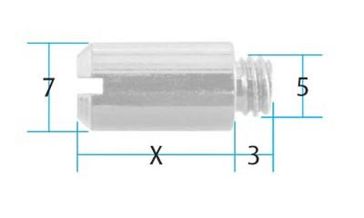 Adjustable Pin for Tapped Bars 12mm (Pack of 10) (Dimensions)