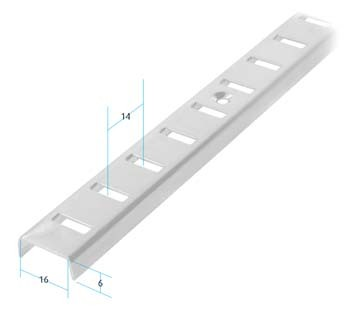 Nickel Plated Raised Shelf Strip 2m Nickel Plated Raised Shelf Strip 2m Details For flush or surface mounting 2m Depth: 6mmWidth: 16mmHole Centres: 98mm Screw Size – 3mm Csk