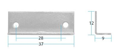 Angle Striking Plate (Pack of 10) (Dimensions)