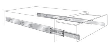 "Suitable for keyboard trays, writing tables, computer equipment and other under surface applicationsThe slide will lock into place when fully extendedNon-handed with 32mm hole pattern for easy installationLever disconnect for easy drawer removalBall retainer latch and ramps for easy drawer insertionDrawer adjustment without removalMetal ball bearing retainer with 3 ball bearings per 25mm (1"") for smooth and quiet operationPolymer stop cushions Sold in pairs 406mm (16"") Weight 45Kg Screw Size – 3.5mm Csk 25mm Over-travel WHILE STOCKS LAST"