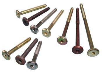 "M6 x 70mm Brass Plated Threaded Bolt M6 x 70mm Brass Plated Threaded Bolt Measurements Length: 70mm (A) Thread Size: M6 Hex Size: 4mm Pack size: 10pcs Colour: Brass Plated Material: Steel Manufactured by Siso M6 x 70mm Brass Plated Threaded Bolt Description Flat headed furniture bolts with an M6 thread sometimes known as a ""No 15"" screw because of the dimension of the flat head. They have a hex drive socket requiring a 4mm Allen head for fitting. Commonly used in the manufacture of furniture in particular beds and cots where some self-assembly is required. Available in various lengths from 40mm to 120mm. Manufactured in steel with various colours to match your furniture. Can be used in conjunction with any fitting that takes an M6 thread."