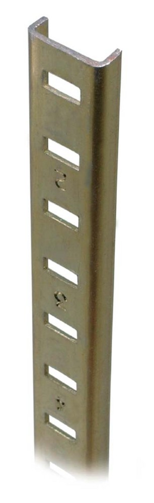 Brass Plated Steel Pilaster Strips 2438mm Brass Plated Steel Pilaster Strips 2438mm Details  For flush or surface mounting Staple or nail fixingNumbered slots for easy cutting and shelf location Steel 2438mm Hole Centres: 114mm Screw Size – 3mm Csk