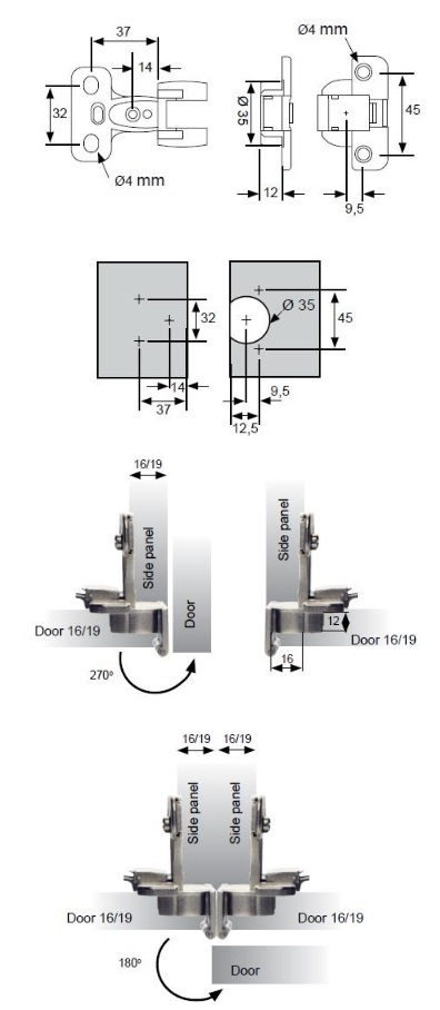 16mm 270 Degree Cabinet Hinges 16mm 270 Degree Cabinet Hinges Details  Door thickness 16mm Screw Size – 4.5mm Csk & 3.5mm Csk