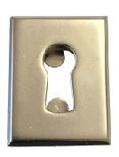 Rectangular Escutcheon Rectangular Escutcheon Measurements Dimensions:  30mm x 23mm 18mm x 6mm bore required Finish:  Matt Nickel Plated Manufactured by MLM Lehmann   Rectangular Escutcheon Description The Rectangular Escutcheon is used to finish off the keyhole on the front of the door.  Suitable for use in conjunction with Euro Bit Keys and the relevant locks.  Two slots push up to secure the escutcheon into the material.