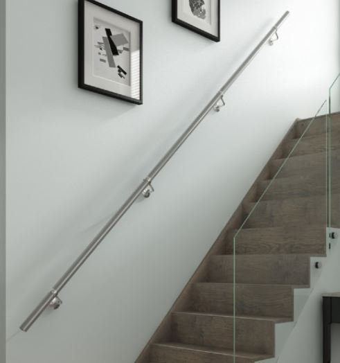Brushed Stainless Steel Handrail Kit Complete Set Brushed Stainless Steel Handrail Kit Measurements Diameter: 40mm Installed Length: 3.6 meters Maximum load bearing along the 3.6m length: 130kg Finish: Brushed Stainless Steel Brushed Stainless Steel Handrail Kit Description Eack Kit Contains - 3 x 1.2 meter Tubing 2 x Wall Brackets 2 x Connecting Brackets 2 x End Caps Supplied  in a box with full instructions, screws & wall plugs The tubes are aligned together in the connecting brackets via retaining screws at either end with the allen key provided. Handrail kits are designed for domestic & light commercial use only For indoor use only Please note delivery on this item is approx 2-3 days
