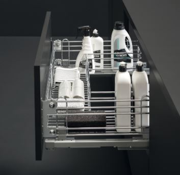 Pull Out Under Sink 900mm Basket Set Under Sink Basket Set Measurements Cabinet Width: 900mm Basket Width: 864mm Basket Height: 160mm Basket Length: 460mm Dimension A: 152mm Maximum Weight: 30kg Under Sink Basket Set Description 1 Set includes  1 chrome plated storage, 1 pair of full extension soft close drawer runners, 2 x side covers & 2 door mounted fixing brackets complete with 3 way adjustment. Pull out under sink baskets maximise the space around the plumbing to ensure all available space is used and easily accessible. Delivery of this item is 2-3 days