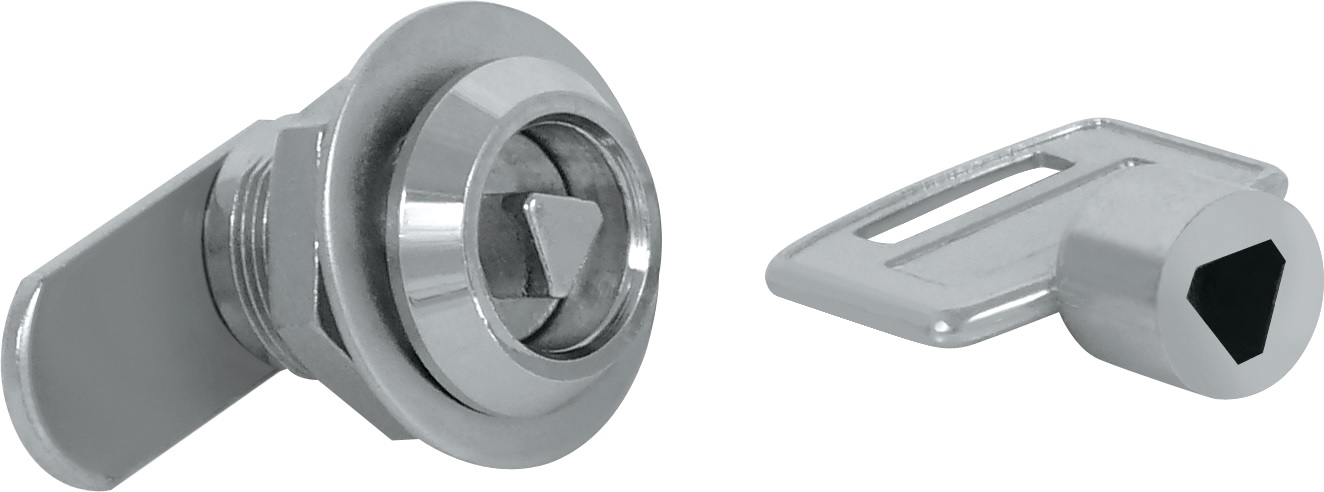 Siso Budget Threaded Cam Lock Siso Budget Threaded Cam Lock Measurements Dimensions:  19 x 20mm Threaded length Rotation:  90 degree turn Material:  Body & key made of zamak.  Cam made of steel.  Hex nut made of zamak Finish:  Chrome Plated Manufactured by Siso   Siso Budget Threaded Cam Lock Description  Suitable for drawers & cabinets.  Supplied with hex nut, 24.75mm cam & triangular bit key.  Activated by pushing in the bit key and turning the lock.  Ideal lock for situations where a lock is required but security is not essential.