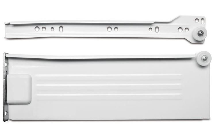 118mm  x 400mm Pan Drawer Slide 400mm Pan Drawer Slide Measurements Length: 400mm Height: 118mm Sold as a Pair 3/4 travel extension Maximum Weight 25 Kilos Colour: Cream Material: Steel Front Height adjustment for perfect allignment of drawer fronts. Manufactured by GTV 400mm Pan Drawer Slide Description Metal sided drawer slides available in heights from 86, 118 & 150mm with available lengths from 300mm to 550mm on selected heights. Traditionally used in kitchens where variable drawer heights are required within the same unit to accommodate cutlery and pans, by using these drawer runners all you need to supply is the base, rear and your own drawer front. All models come complete with a front connector with a degree of adjustment as standard. A building in width of 12.5mm either side is required, and the maximum weight loading per set is 25kilos. The runners roll on a nylon wheel and are slightly angled at the rear to prevent accidental opening. No base or drawer back is supplied with this product.