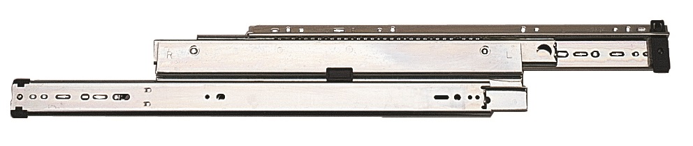 "Knape & Vogt 14""/356mm Heavy Duty Drawer Runner Knape & Vogt 14""/356mm Heavy Duty Drawer Runner Measurements Sold in pairs 356mm (14"") 25mm Over-travel Weight 68Kg Screw Size – 3.5mm Csk (Not supplied) Manufactured in U.S.A by Knape & Vogt Knape & Vogt 14""/356mm Heavy Duty Drawer Runner Description Suitable for Pedestals and Lateral File DrawersNon-Handed and 32mm hole pattern for easy installationBall retainer latch and ramps for easier drawer insertionFactory attached drawer release clips with non handed quick disconnect facilityHold in feature to prevent bounce backPositive in/out stopsMetal ball bearing retainer with 3 ball bearings per 25mm (1"") for smooth and quiet operation"