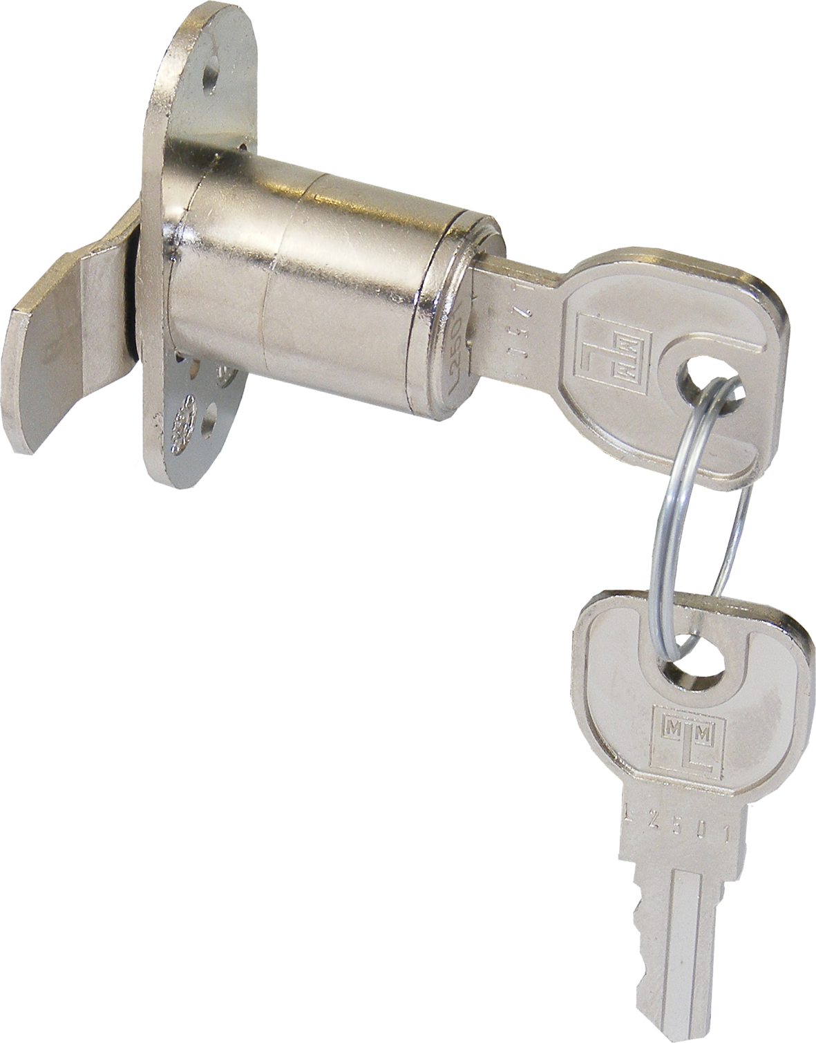 MLM Lehmann Cam Lock Keyed Alike MLM Lehmann Cam Lock Keyed Alike Measurements Key Range : L2501 Keyed Alike 16.5mm Diameter Cam Length : 23.5mm with 3mm crank Each Lock is supplied with 2 steel keys Manufactured by MLM Lehmann MLM Lehmann Cam Lock Keyed Alike Description MLM Lehmann are now producing their own version of the fixed cylinder cam locks to follow on from the success of the Huwil version. Built to the same high standards of the MLM Lehmann housing range. Cam locks are used on numerous pieces of furniture from pedestal cabinets, cupboards, drawers and mailboxes. Supplied with a flat cam which rotates through 90 degrees and generally locates behind an angled striker plate.