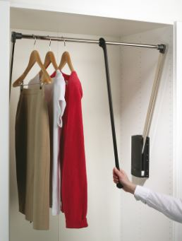 Pull Down Wardrobe Rail 410-610mm Pull Down Wardrobe Rail 410-610mm Measurements Internal Cabinet Width : 410mm to 610mm Installed Height : 850mm Minimum Load Required : 1.6kg Maximum Weight Capacity : 10 kg Material : Steel/Plastic Pull Down Wardrobe Rail 410-610mm Description Operated by the pull rod which slides along the 22mm diameter rail (fully adjustable to cabinet width) this mechanism allows easy access to the rail by pulling it forward.  Full fittings & tilting device along with instructions are supplied Please note delivery on this item is 2-3 days.
