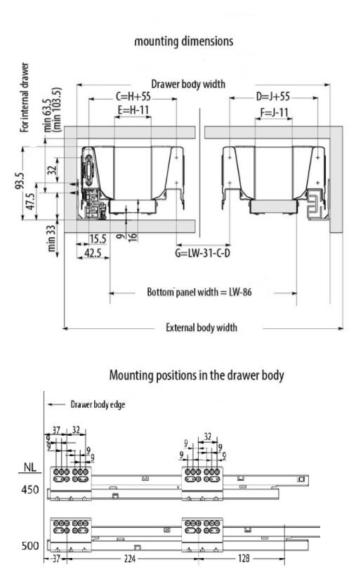 Under Sink Modern Drawer Box System - Soft Close Drawer